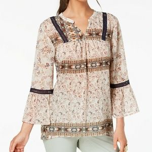 Style & Co Blouse Printed Ladder Trim Peasant Top